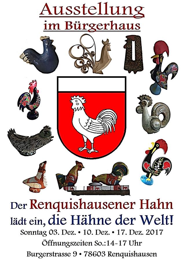 Der Renquishausener Hahn, lädt ein, die Hähne der Welt!